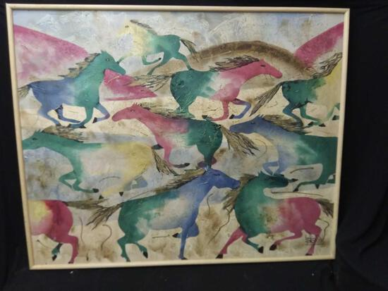 Large Lee Reynolds Dancing Horses 1960's Abstract Oil on Canvas Painting