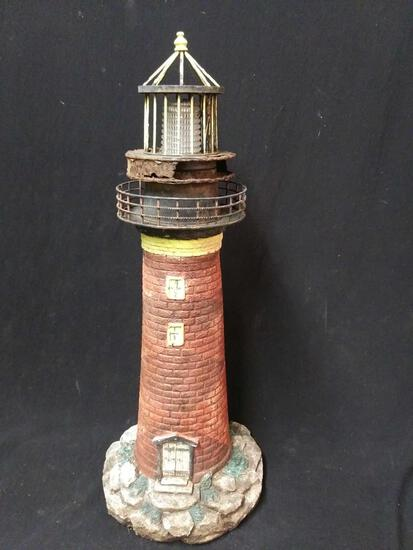 Vintage Metal and Resin Lighthouse