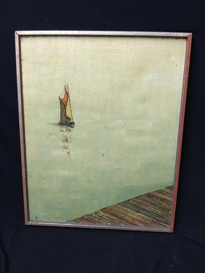 Small sailboat on calm water, painting signed Byron