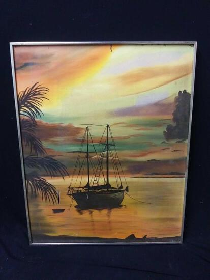 Medium Sized Gold Framed, Boat Scene, Reproduction Signed