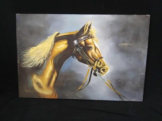 Beautiful original Art on Canvas Horse Portrait Signed Jenkins