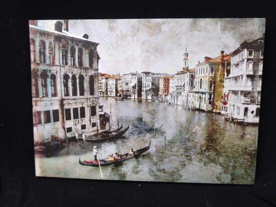 Stretched vinyl picture on Wood of Venice Boating Scene