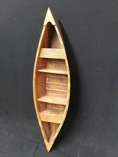 Lightweight green wooden boat display Shelf