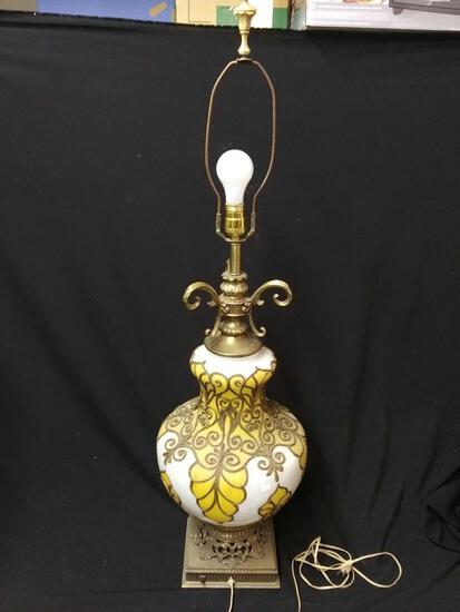 Very Large, Gorgeous mid-century ornately decorated and glazed glass Table Lamp