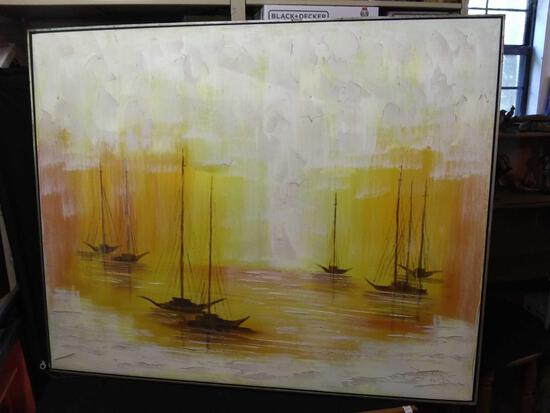 Extra Large Original Plaster Textured Oil Painting Signed (Diller?)(Dillon?)