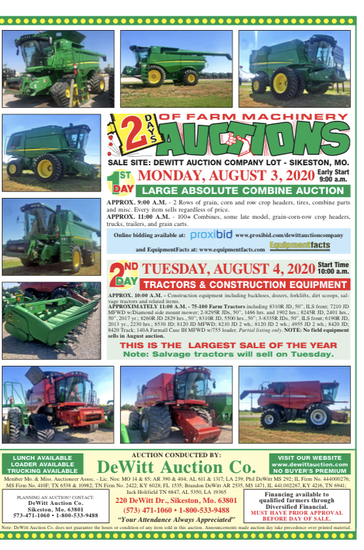 ANNUAL ABSOLUTE HARVEST EQUIPMENT AUCTION