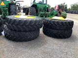 (4) 520/85R42 TIRES AND WHEELS, SPACERS AND SHAFT