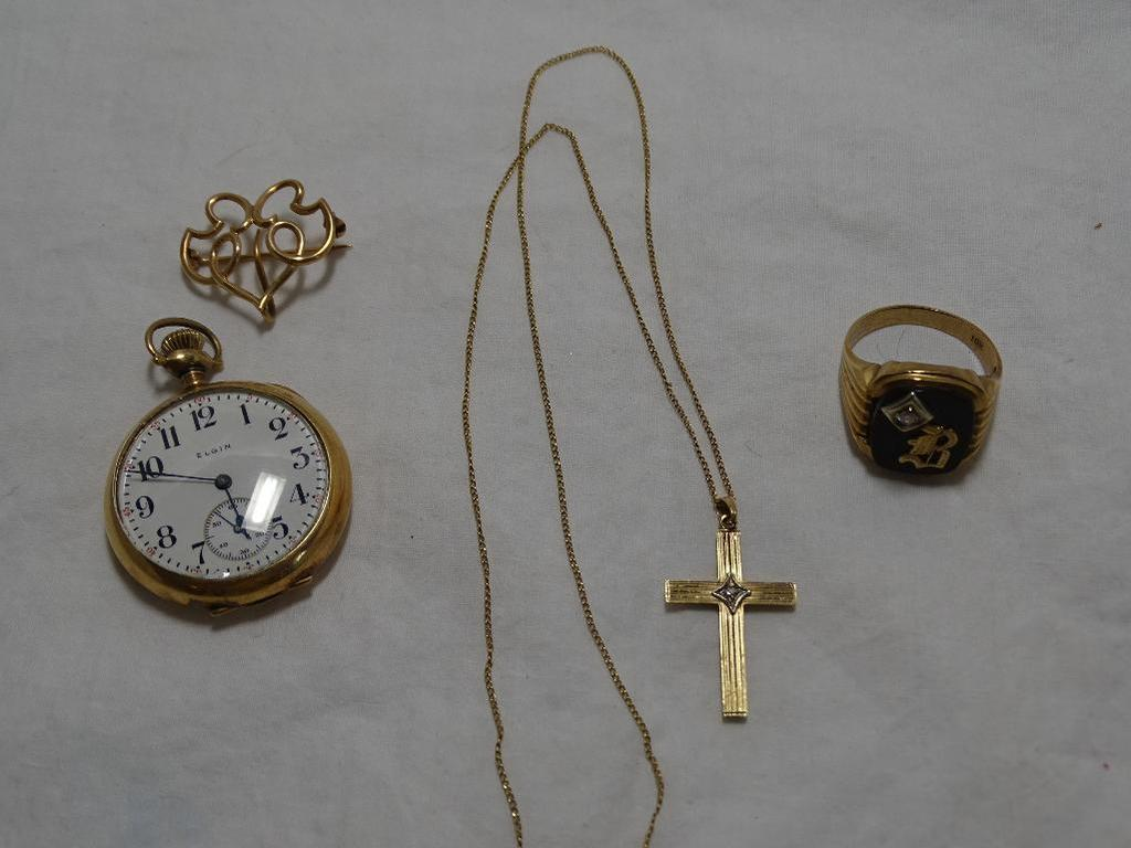 Pocket Watch, Watch Pin, Ring & Necklace