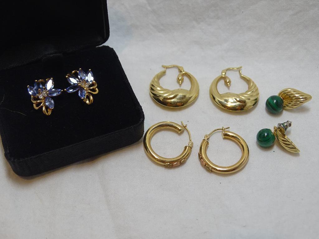 Five Pair Gold Earrings