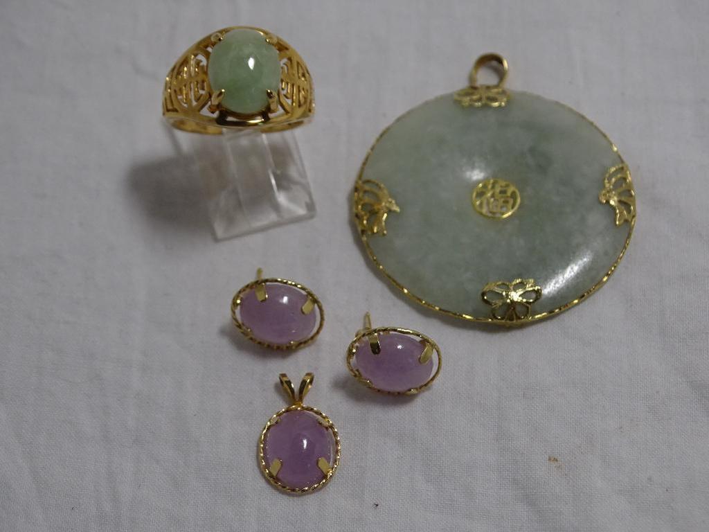 Jade Pendants, Earrings and Ring
