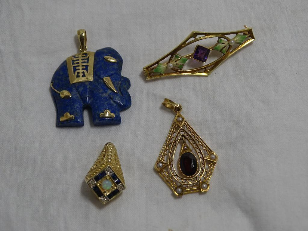 Gold Pendants and Pin