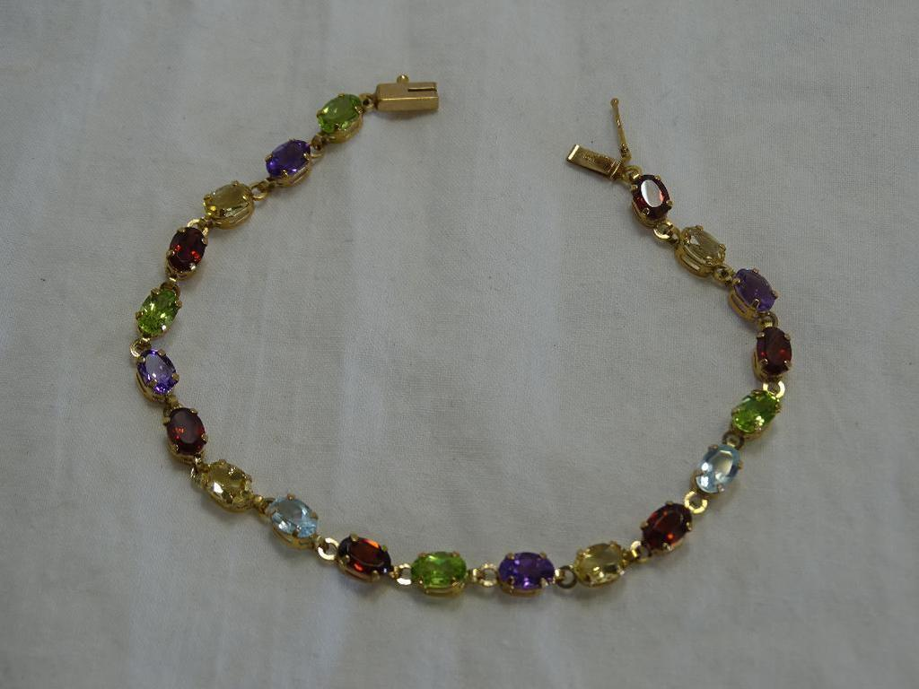 Multi-gem Gold Tennis Bracelet