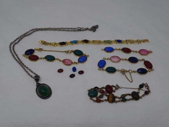 Scarab jewelry lot