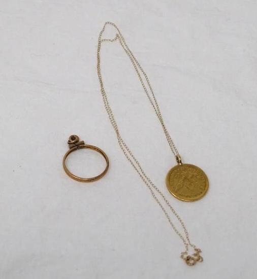 Gold coin on chain