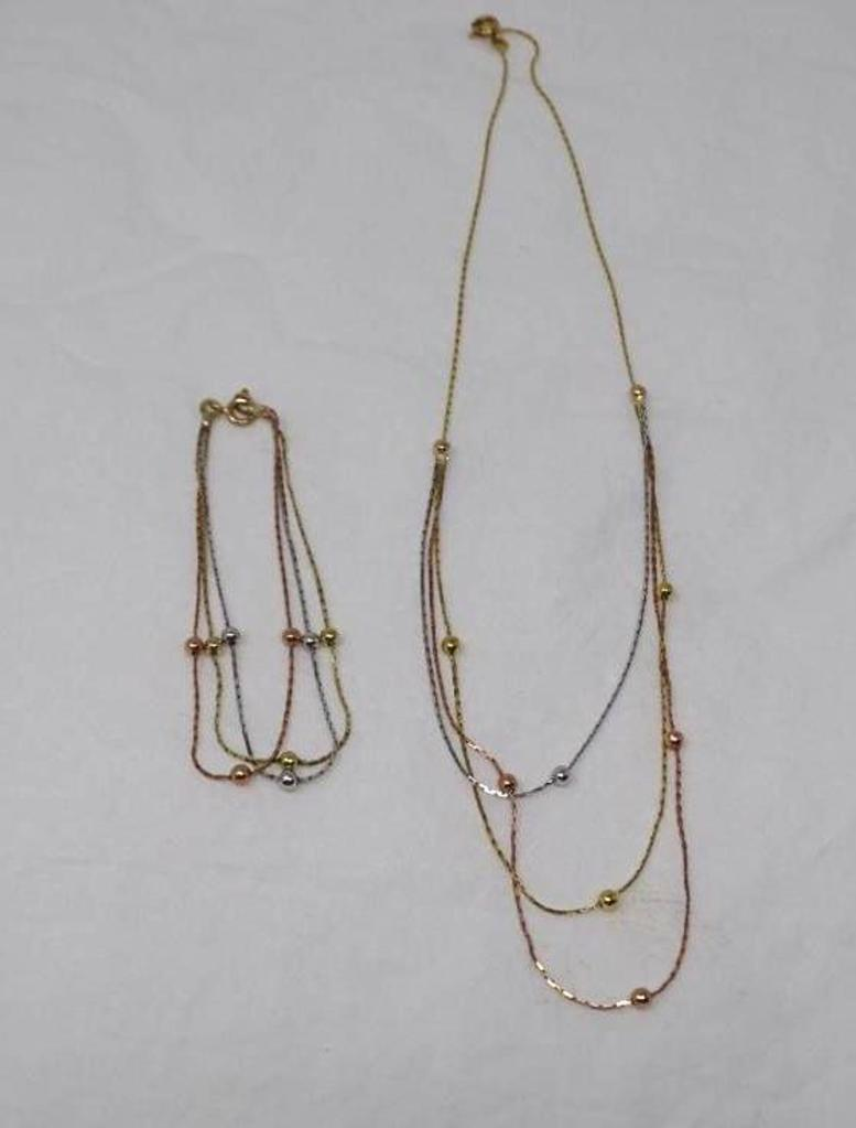 Gold necklace and bracelet set