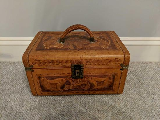 Tooled leather travel case (Pick-up only)