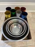 Stainless steel nested bowls and aluminum cups (Pick-up only)