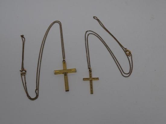 Two Early Cross Pendants on Chains