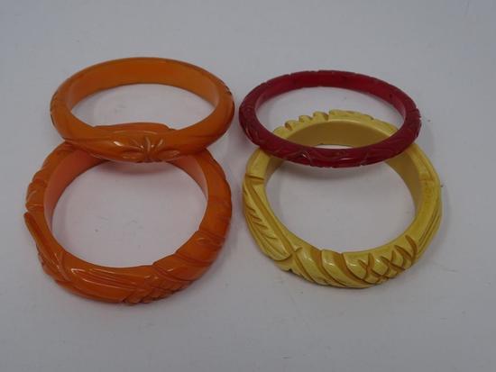 4 Bakelite Bangle Bracelets