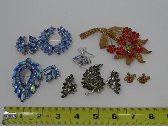 Rhinestone Brooches and Earrings