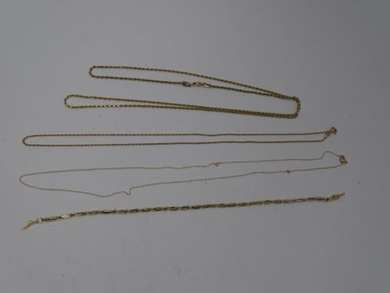 3 Gold Necklaces and 1 Bracelet