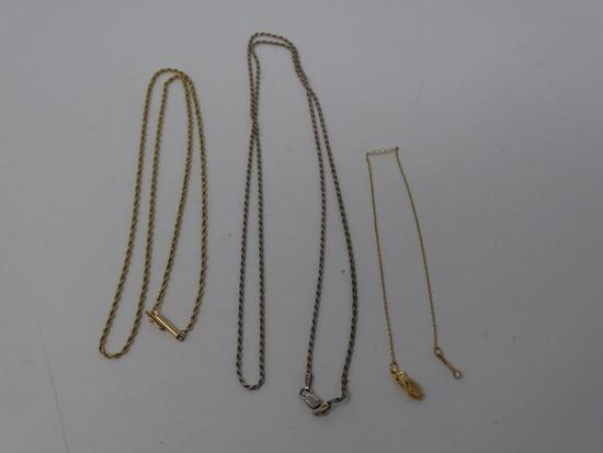 2 Gold Necklaces and a Bracelet
