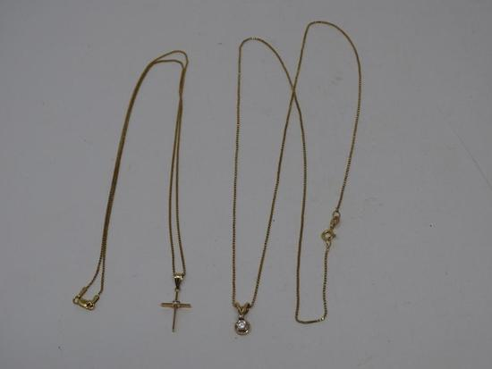 2 Gold Necklaces and Pendants
