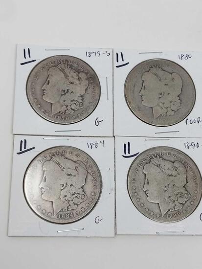 Morgan dollars: 1879S G, 1880 poor, 1884 G, 1890O G