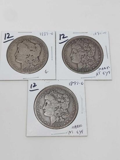 Morgan dollars: 1889O G, 1891O & 1897O mark at eye