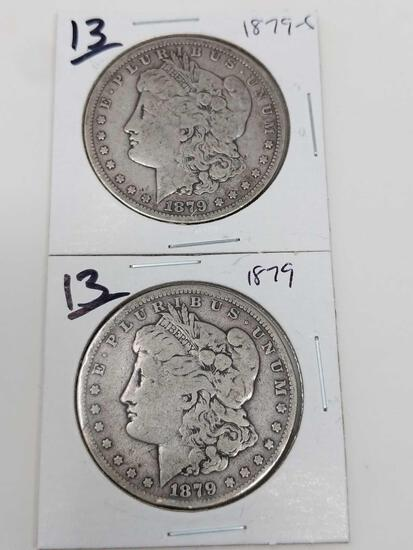 Morgan dollars: 1879 VG, 1879S VG