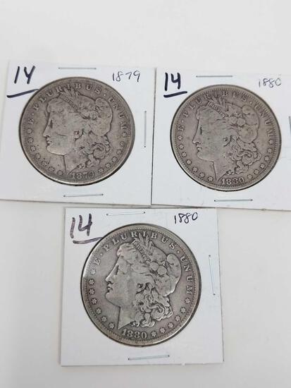 Morgan dollars: 1879, (2) 1880 VG