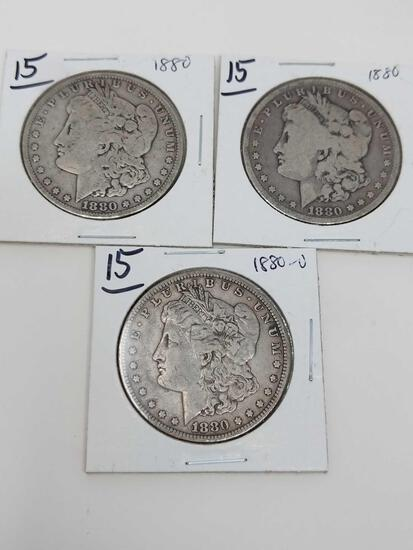 Morgan dollars: (2) 1880, 1880O G-F