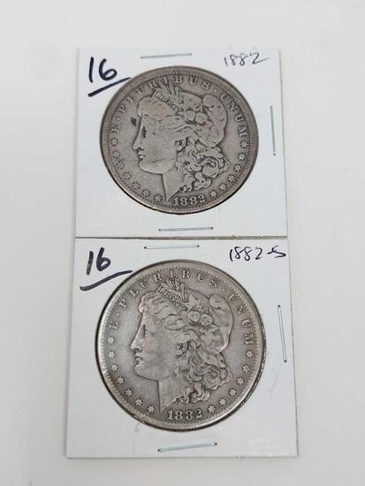 Morgan dollars: 1882, 1882S VG-F