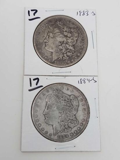 Morgan dollars: 1883S VG-F, 1884S F