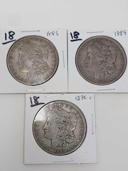 Morgan dollars: 1888, 89, 90O F-VF