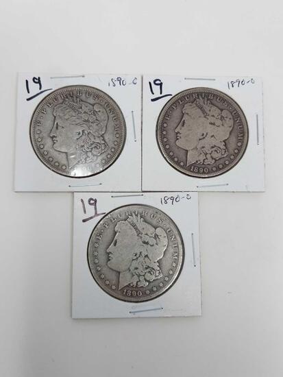 Morgan dollars: (3) 1890O G-F