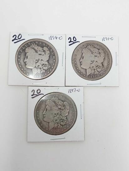 Morgan dollars: 1891O, 94O, 97O G-VG