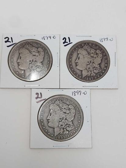 Morgan dollars: 1894O, 97O, 99O G-VG