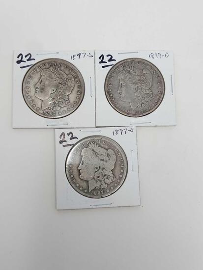 Morgan dollars: 1897O, 97S, 99O G-VF