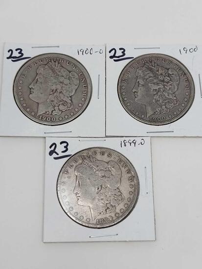 Morgan dollars: 1899O, 1900, 1900O VG-F