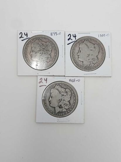 Morgan dollars: 1899O, (2) 1900O G-VG