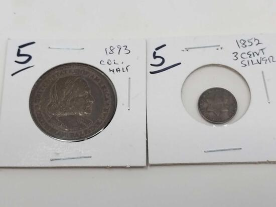 1852 3-cent silver, VG with scrapes; 1893 Columbian half, XF