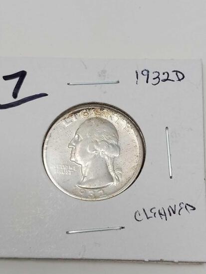 1932D Washington quarter, cleaned XF