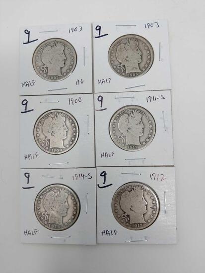 Barber halves: 1900, (2) 1903, 11S, 12, 14S, AG-VG