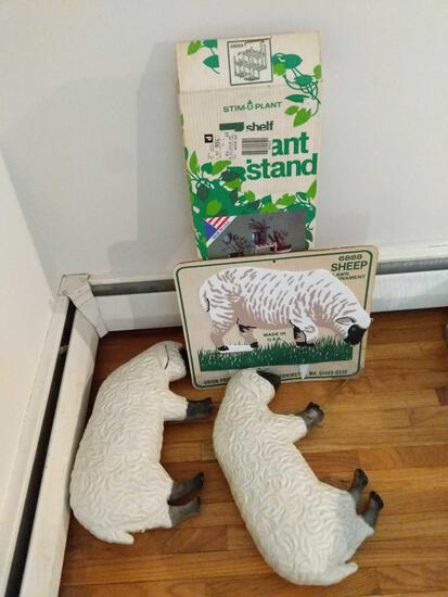Plant Stand, 3 Sheep Lawn Decorations