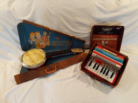 Toys: Emenee Golden Banjo and Emenee Golden Piano Accordion