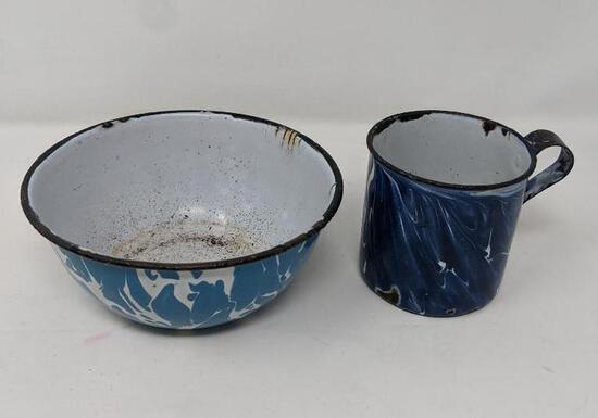 Blue Enamelware Cup and Bowl