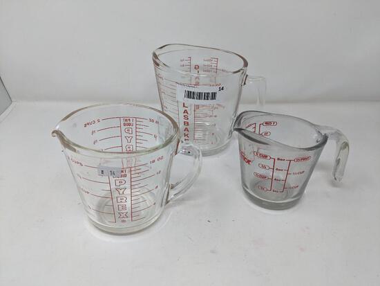 Three Glass Measuring Cups