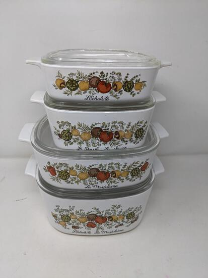 Four Corningware Lidded Casseroles