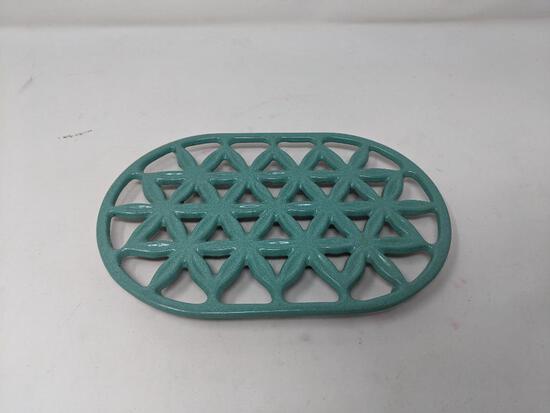 Enameled Geometric Cast Iron Trivet